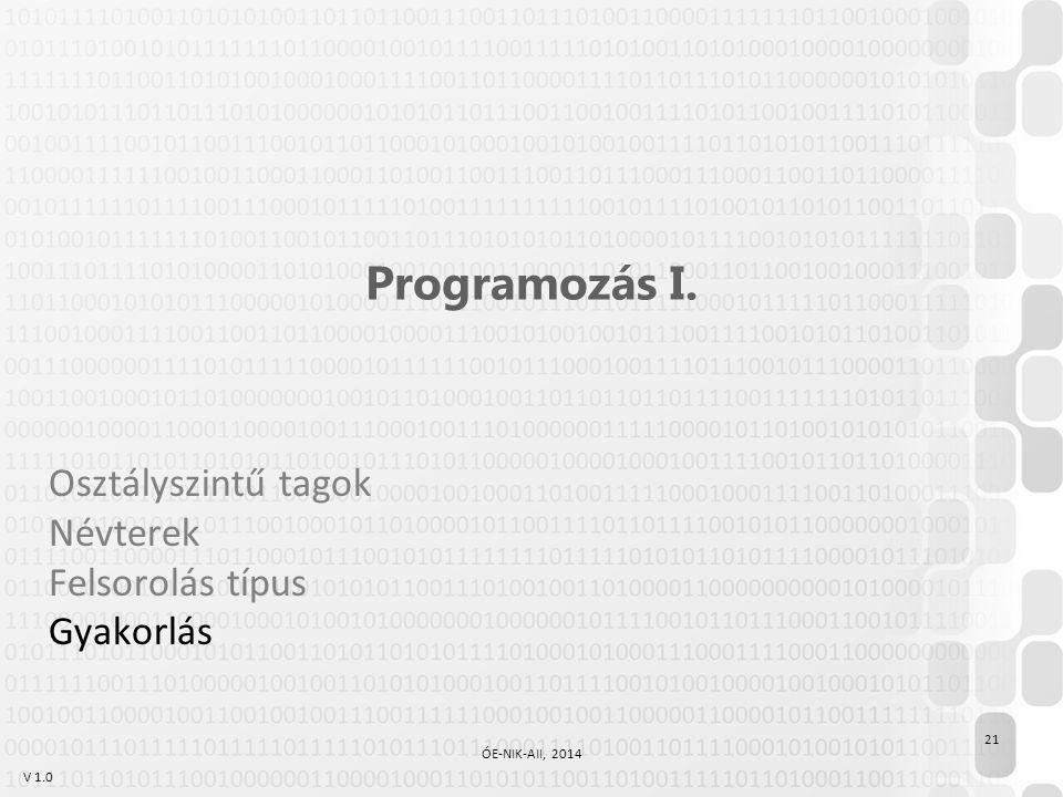 V 1.0 Programozás I. Osztályszintű tagok Névterek Felsorolás típus Gyakorlás 21 ÓE-NIK-AII, 2014