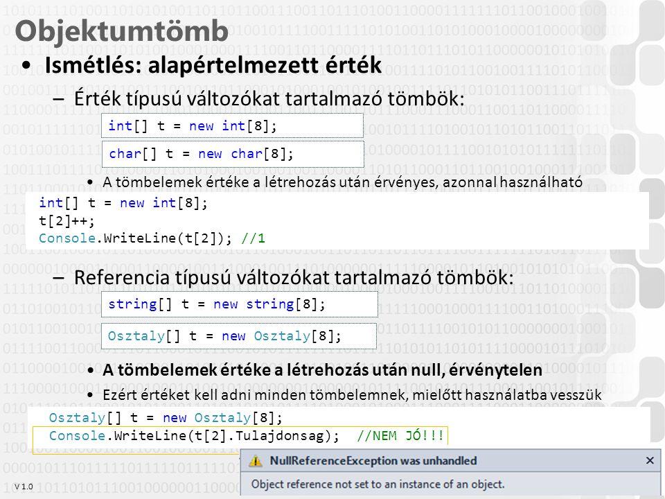 V 1.0 Osztaly[] t = new Osztaly[8]; Console.WriteLine(t[2].Tulajdonsag); //NEM JÓ!!.