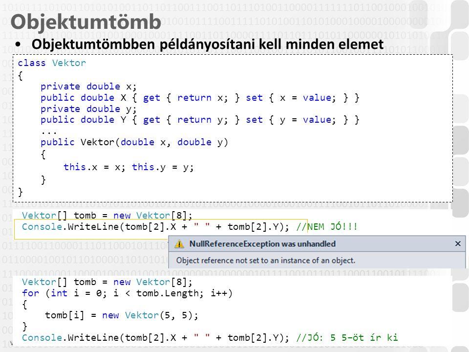 V 1.0 Objektumtömb 25 ÓE-NIK-AII, 2014 class Vektor { private double x; public double X { get { return x; } set { x = value; } } private double y; public double Y { get { return y; } set { y = value; } }...