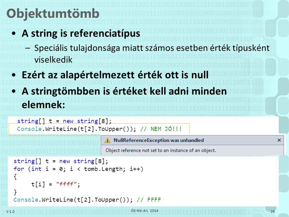 V 1.0 string[] t = new string[8]; Console.WriteLine(t[2].ToUpper()); // NEM JÓ!!! Objektumtömb 26 ÓE-NIK-AII, 2014 A string is referenciatípus –Speciá