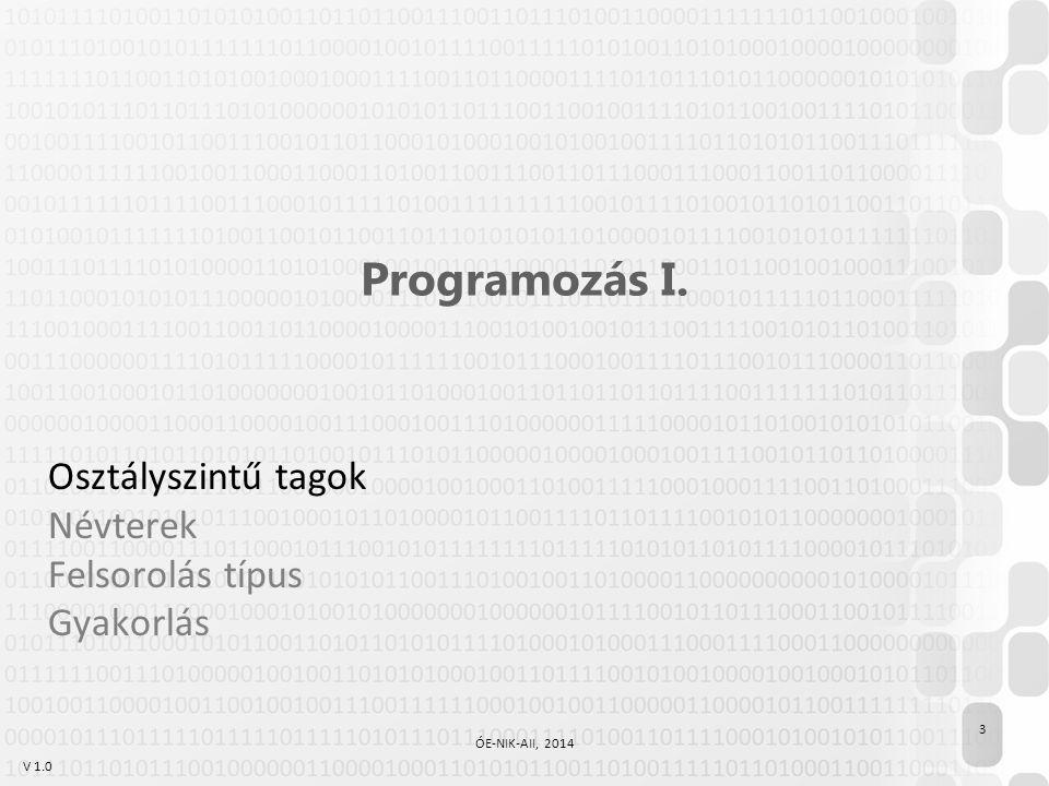 V 1.0 Programozás I. Osztályszintű tagok Névterek Felsorolás típus Gyakorlás 3 ÓE-NIK-AII, 2014