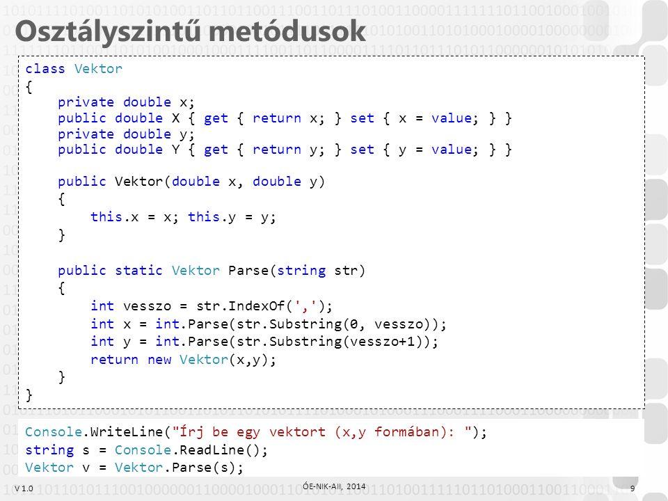 V 1.0 Osztályszintű metódusok 9 ÓE-NIK-AII, 2014 class Vektor { private double x; public double X { get { return x; } set { x = value; } } private double y; public double Y { get { return y; } set { y = value; } } public Vektor(double x, double y) { this.x = x; this.y = y; } public static Vektor Parse(string str) { int vesszo = str.IndexOf( , ); int x = int.Parse(str.Substring(0, vesszo)); int y = int.Parse(str.Substring(vesszo+1)); return new Vektor(x,y); } Console.WriteLine( Írj be egy vektort (x,y formában): ); string s = Console.ReadLine(); Vektor v = Vektor.Parse(s);
