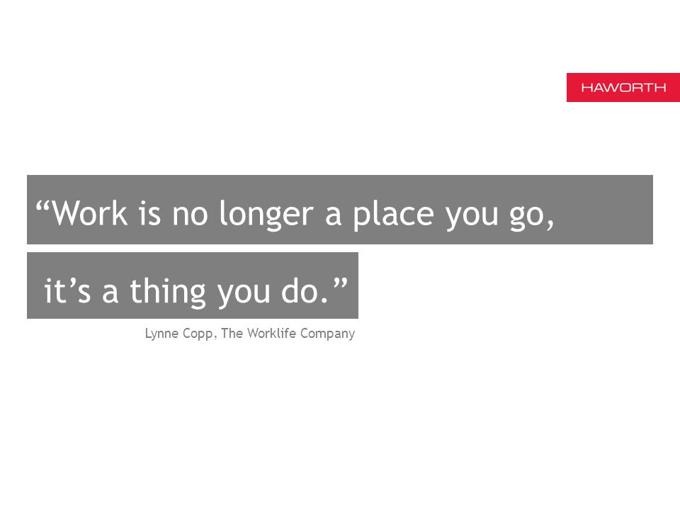 Work is no longer a place you go, Lynne Copp, The Worklife Company it's a thing you do.