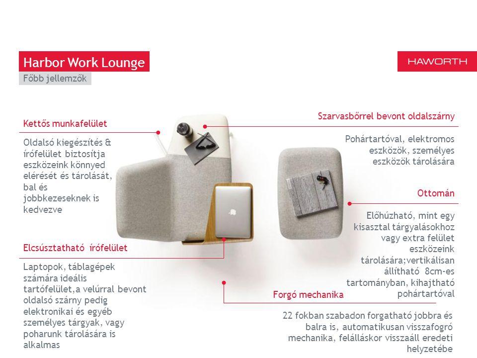 March 13th 2014 | Berlin Oldalsó kiegészítés & írófelület biztosítja eszközeink könnyed elérését és tárolását, bal és jobbkezeseknek is kedvezve Harbor Work Lounge Kettős munkafelület Laptopok, táblagépek számára ideális tartófelület,a velúrral bevont oldalsó szárny pedig elektronikai és egyéb személyes tárgyak, vagy poharunk tárolására is alkalmas Elcsúsztatható írófelület Szarvasbőrrel bevont oldalszárny Pohártartóval, elektromos eszközök, személyes eszközök tárolására Ottomán Előhúzható, mint egy kisasztal tárgyalásokhoz vagy extra felület eszközeink tárolására;vertikálisan állítható 8cm-es tartományban, kihajtható pohártartóval 22 fokban szabadon forgatható jobbra és balra is, automatikusan visszafogró mechanika, felálláskor visszaáll eredeti helyzetébe Forgó mechanika Főbb jellemzők