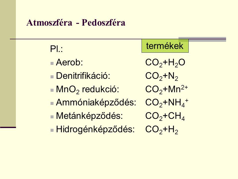 Atmoszféra - Pedoszféra Pl.: Aerob:CO 2 +H 2 O Denitrifikáció: CO 2 +N 2 MnO 2 redukció:CO 2 +Mn 2+ Ammóniaképződés:CO 2 +NH 4 + Metánképződés:CO 2 +C