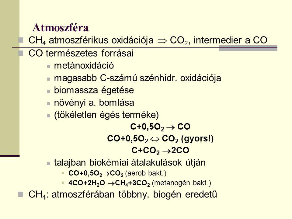 Atmoszféra CH 4 atmoszférikus oxidációja  CO 2, intermedier a CO CO természetes forrásai metánoxidáció magasabb C-számú szénhidr. oxidációja biomassz