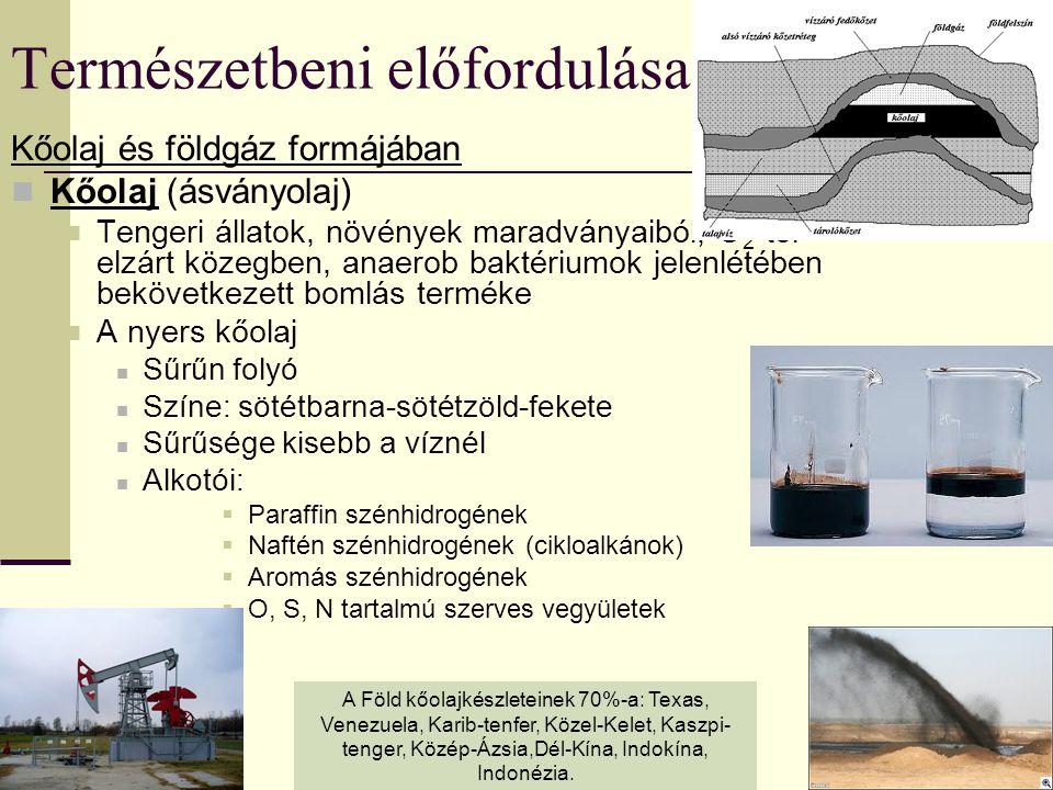 Természetbeni előfordulása Kőolaj és földgáz formájában Kőolaj (ásványolaj) Tengeri állatok, növények maradványaiból, O 2 -től elzárt közegben, anaero