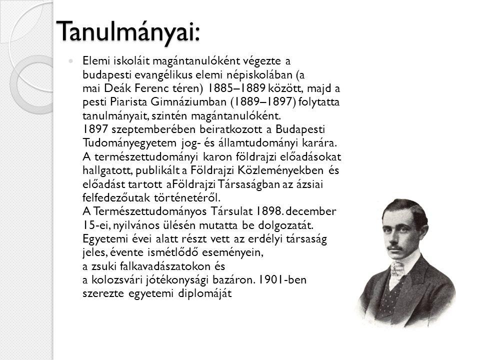Tanulmányai: Elemi iskoláit magántanulóként végezte a budapesti evangélikus elemi népiskolában (a mai Deák Ferenc téren) 1885–1889 között, majd a pest