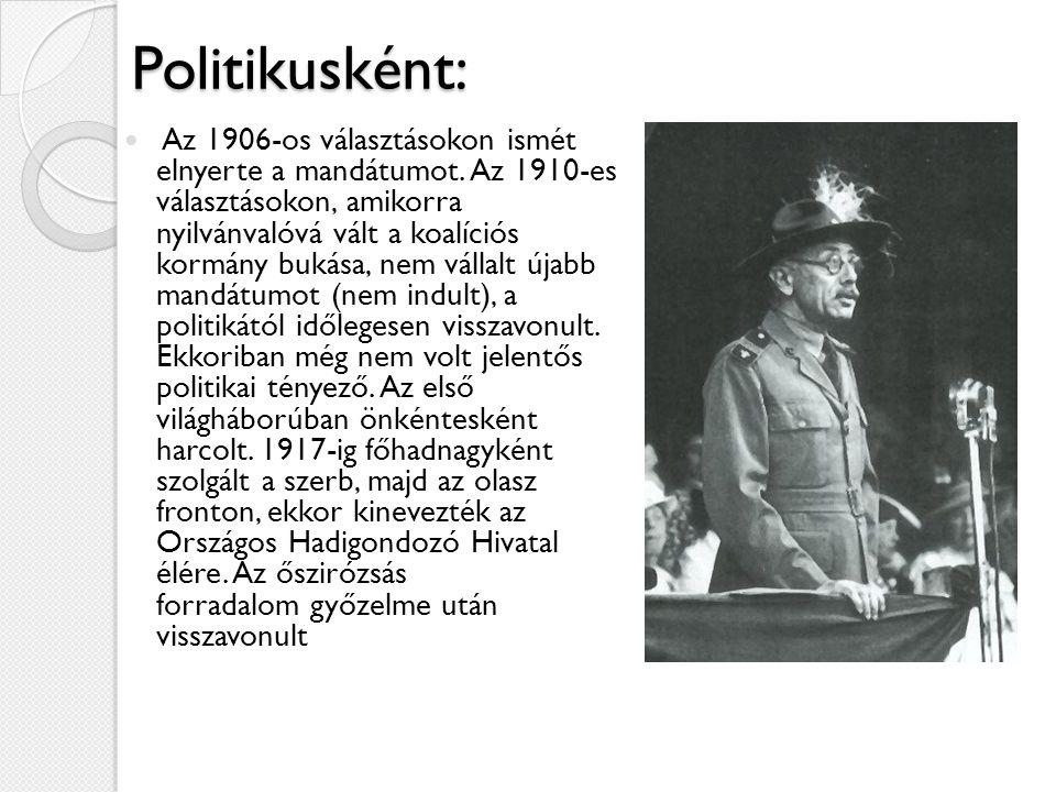 Politikusként: Az 1906-os választásokon ismét elnyerte a mandátumot. Az 1910-es választásokon, amikorra nyilvánvalóvá vált a koalíciós kormány bukása,