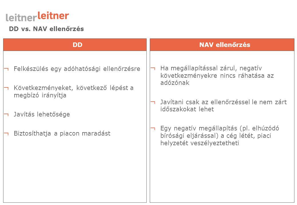 DD vs. NAV ellenőrzés ¬ Felkészülés egy adóhatósági ellenőrzésre ¬ Következményeket, következő lépést a megbízó irányítja ¬ Javítás lehetősége ¬ Bizto