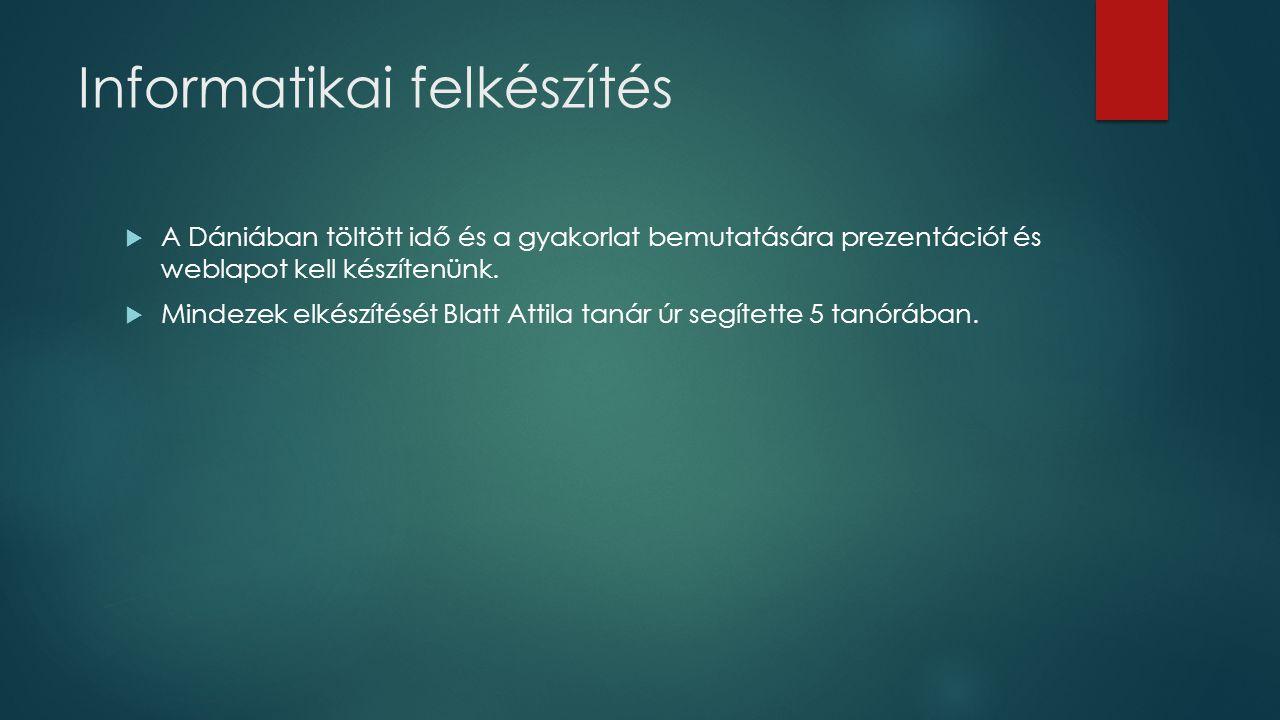 Informatikai felkészítés  A Dániában töltött idő és a gyakorlat bemutatására prezentációt és weblapot kell készítenünk.  Mindezek elkészítését Blatt