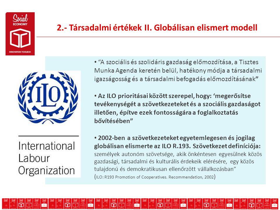A szociális és szolidáris gazdaság előmozdítása, a Tisztes Munka Agenda keretén belül, hatékony módja a társadalmi igazságosság és a társadalmi befogadás előmozdításának Az ILO prioritásai között szerepel, hogy: 'megerősítse tevékenységét a szövetkezeteket és a szociális gazdaságot illetően, építve ezek fontosságára a foglalkoztatás bővítésében 2002-ben a szövetkezeteket egyetemlegesen és jogilag globálisan elismerte az ILO R.193.
