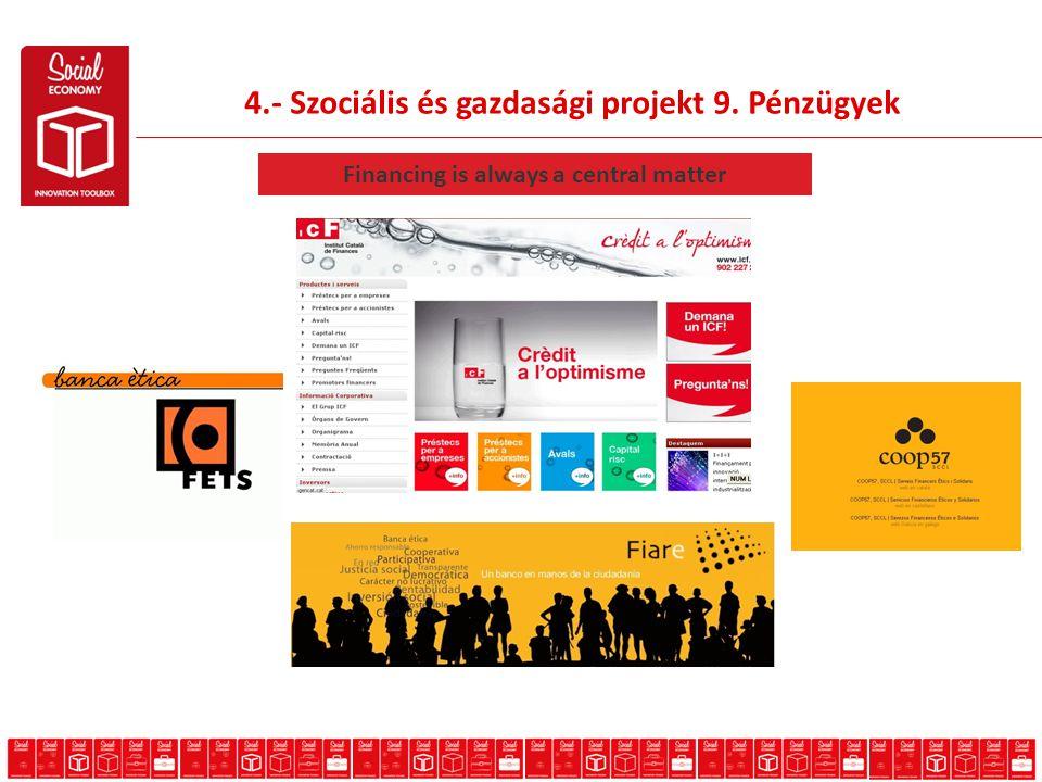 4.- Szociális és gazdasági projekt 9. Pénzügyek Financing is always a central matter