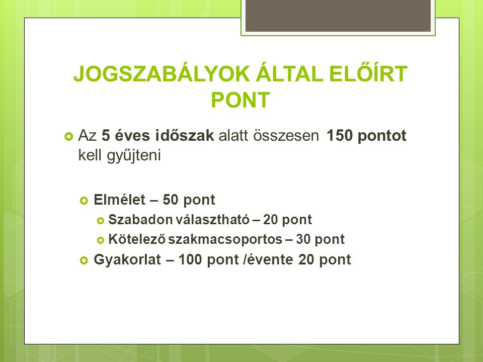 INFORMÁCIÓ  Magyar Egészségügyi Szakdolgozói Kamara – www.meszk.hu /továbbképzés mappawww.meszk.hu  Egészségügyi Nyilvántartási Képzési Központ (ENKK)  www.eenk.hu www.eenk.hu  www.eti.hu www.eti.hu