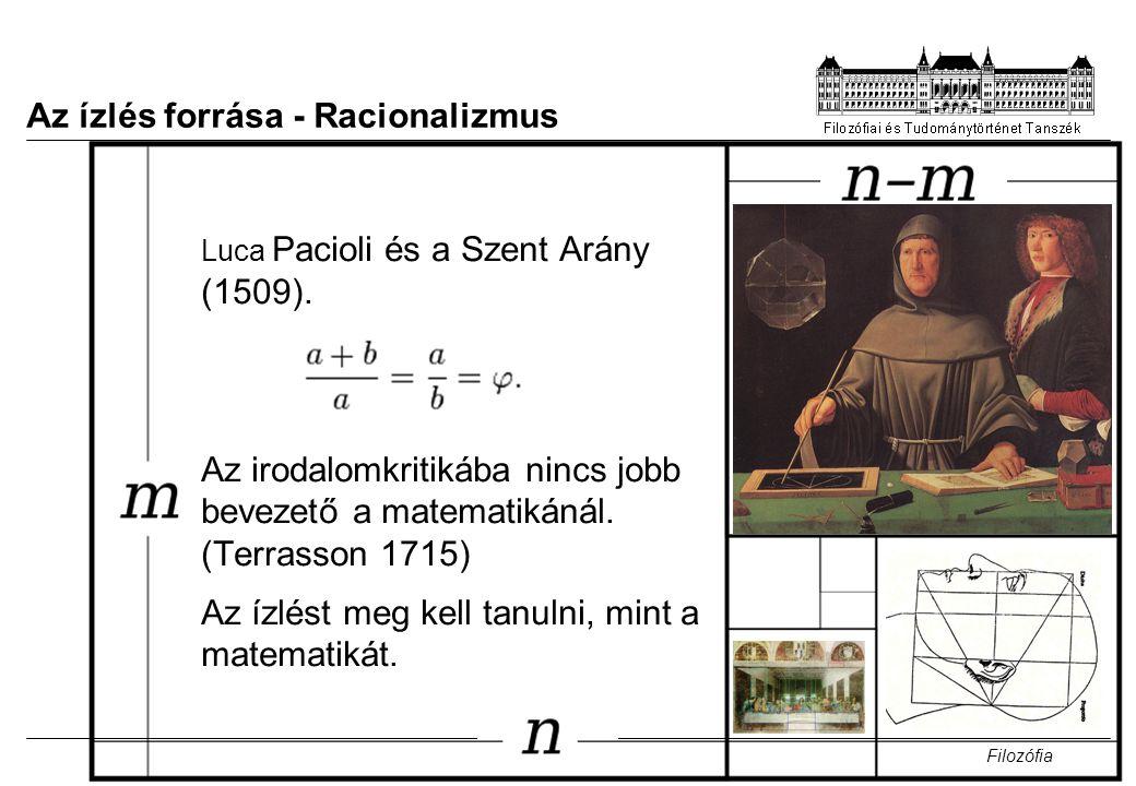 7 Az ízlés forrása - Racionalizmus Luca Pacioli és a Szent Arány (1509). Az irodalomkritikába nincs jobb bevezető a matematikánál. (Terrasson 1715) Az