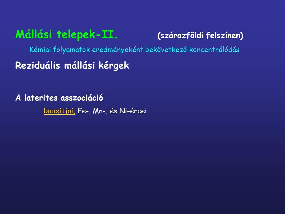 Mállási telepek-II. (szárazföldi felszínen) Kémiai folyamatok eredményeként bekövetkező koncentrálódás Reziduális mállási kérgek A laterites asszociác