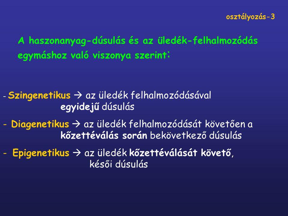 A szállítás-lerakódás folyamatában szingenetikusan képződő telepek-II (dúsító hatás: kémiai››mechanikai/biológiai) A szárazföldön: karsztbauxitok* lápi mész, travertinó, nemesagyagok, hidrokvarcit, limno-opalit szóda, trona, chilei salétrom, borátok guano-telepek diatomaföld alginit limnikus kőszenek* a kalkrét-asszociáció U-érc telepei