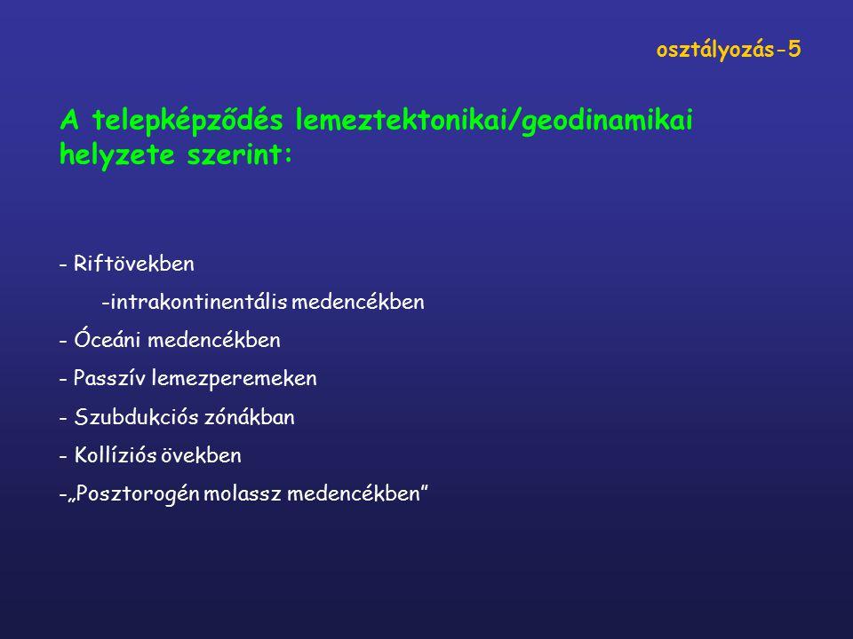 A telepképződés lemeztektonikai/geodinamikai helyzete szerint: - Riftövekben -intrakontinentális medencékben - Óceáni medencékben - Passzív lemezperem