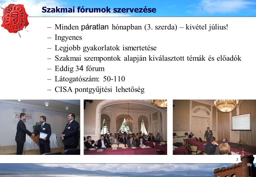 3 Szakmai fórumok szervezése –Minden páratlan hónapban (3.