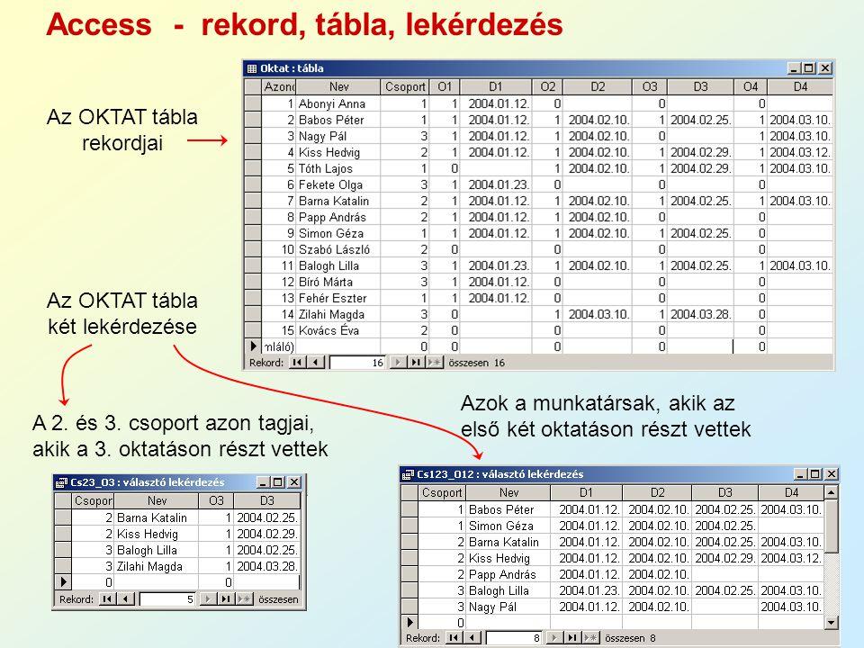 Access - rekord, tábla, lekérdezés Az OKTAT tábla rekordjai Az OKTAT tábla két lekérdezése A 2. és 3. csoport azon tagjai, akik a 3. oktatáson részt v