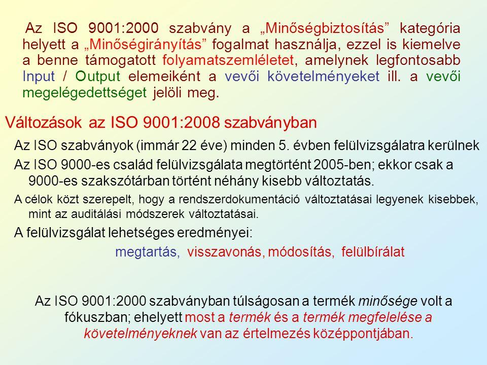 """Az ISO 9001:2000 szabvány a """"Minőségbiztosítás"""" kategória helyett a """"Minőségirányítás"""" fogalmat használja, ezzel is kiemelve a benne támogatott folyam"""