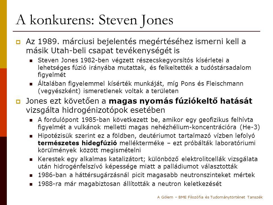 A konkurens: Steven Jones  Az 1989. márciusi bejelentés megértéséhez ismerni kell a másik Utah-beli csapat tevékenységét is Steven Jones 1982-ben vég