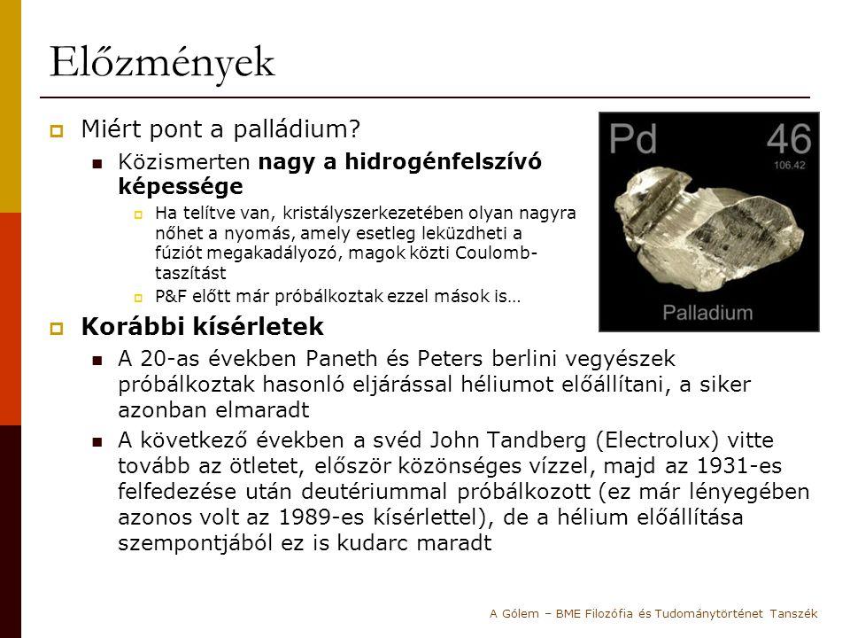 Előzmények  Miért pont a palládium? Közismerten nagy a hidrogénfelszívó képessége  Ha telítve van, kristályszerkezetében olyan nagyra nőhet a nyomás