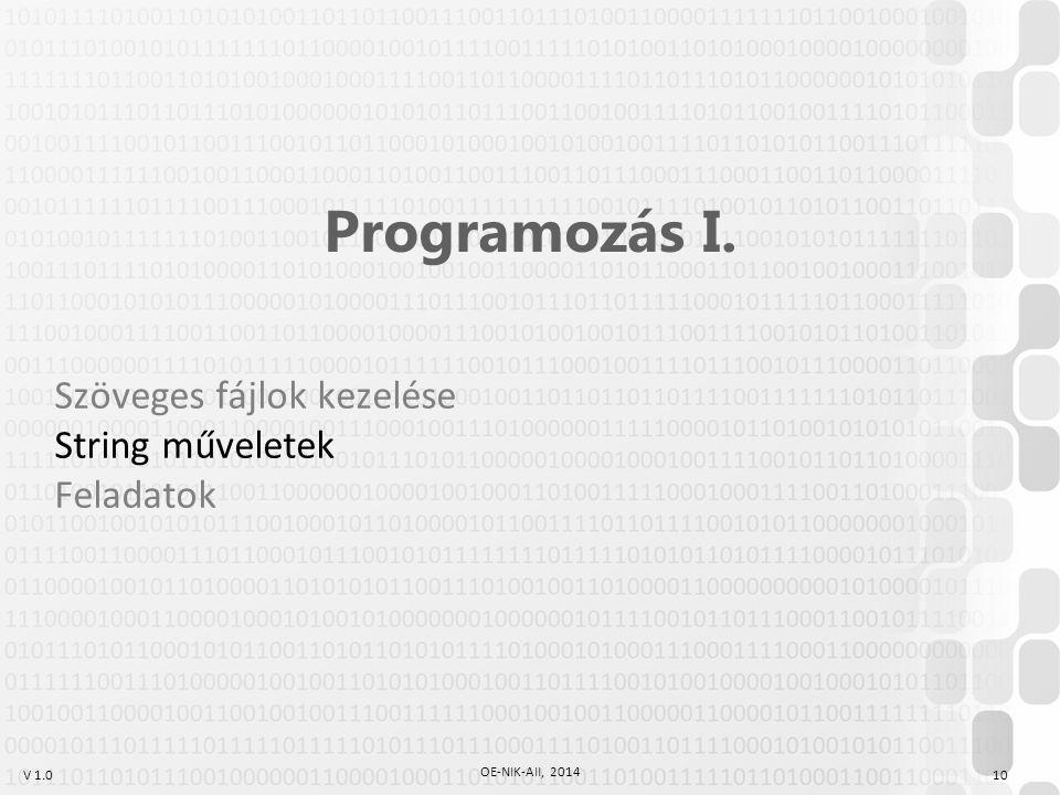 V 1.0 OE-NIK-AII, 2014 10 Programozás I. Szöveges fájlok kezelése String műveletek Feladatok