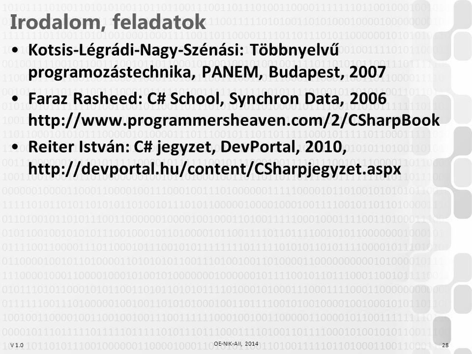 V 1.0 Irodalom, feladatok Kotsis-Légrádi-Nagy-Szénási: Többnyelvű programozástechnika, PANEM, Budapest, 2007 Faraz Rasheed: C# School, Synchron Data, 2006 http://www.programmersheaven.com/2/CSharpBook Reiter István: C# jegyzet, DevPortal, 2010, http://devportal.hu/content/CSharpjegyzet.aspx 28 OE-NIK-AII, 2014