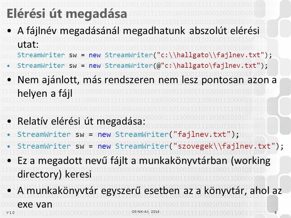 V 1.0 Feladatok 1.Egy string tömbbe olvassa be egy szöveges fájl sorait, majd a sorokat írja ki a konzolra.