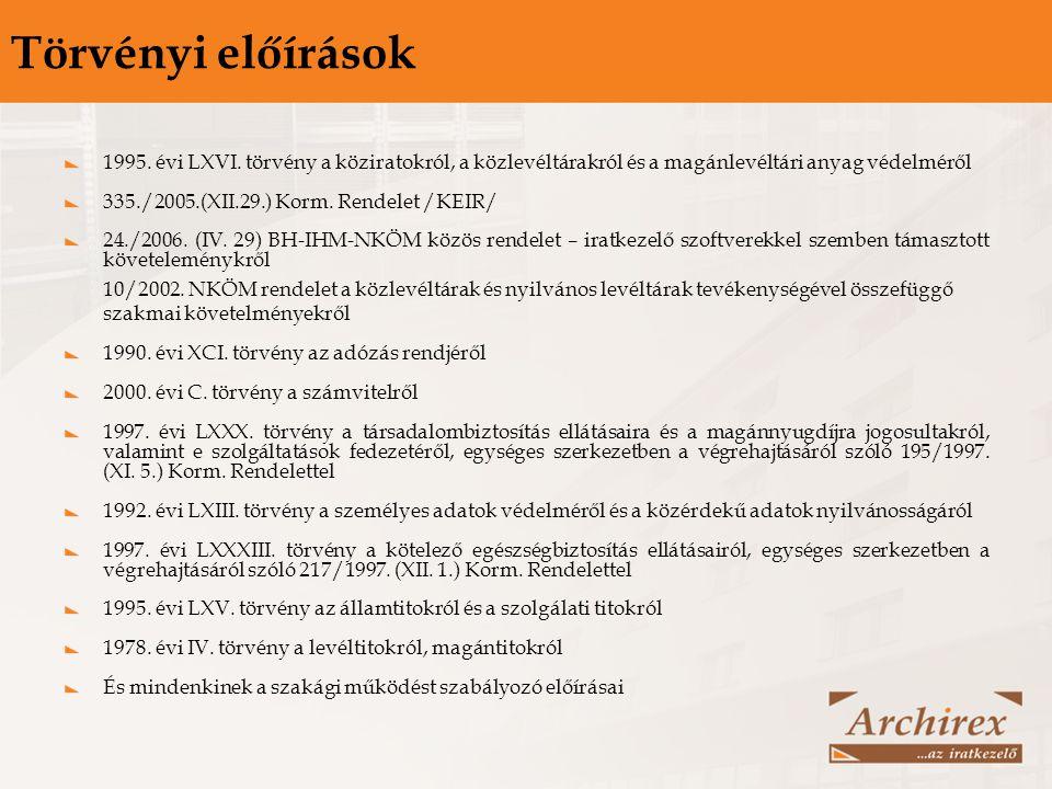Törvényi előírások 1995. évi LXVI. törvény a köziratokról, a közlevéltárakról és a magánlevéltári anyag védelméről 335./2005.(XII.29.) Korm. Rendelet