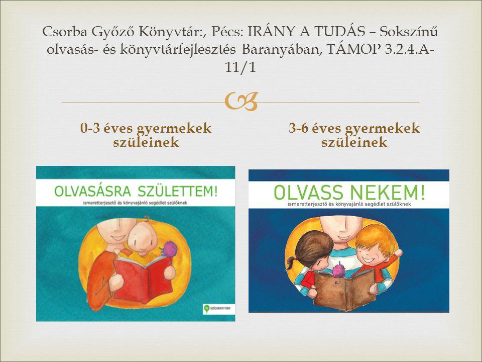  Csorba Győző Könyvtár:, Pécs: IRÁNY A TUDÁS – Sokszínű olvasás- és könyvtárfejlesztés Baranyában, TÁMOP 3.2.4.A- 11/1 0-3 éves gyermekek szüleinek 3-6 éves gyermekek szüleinek