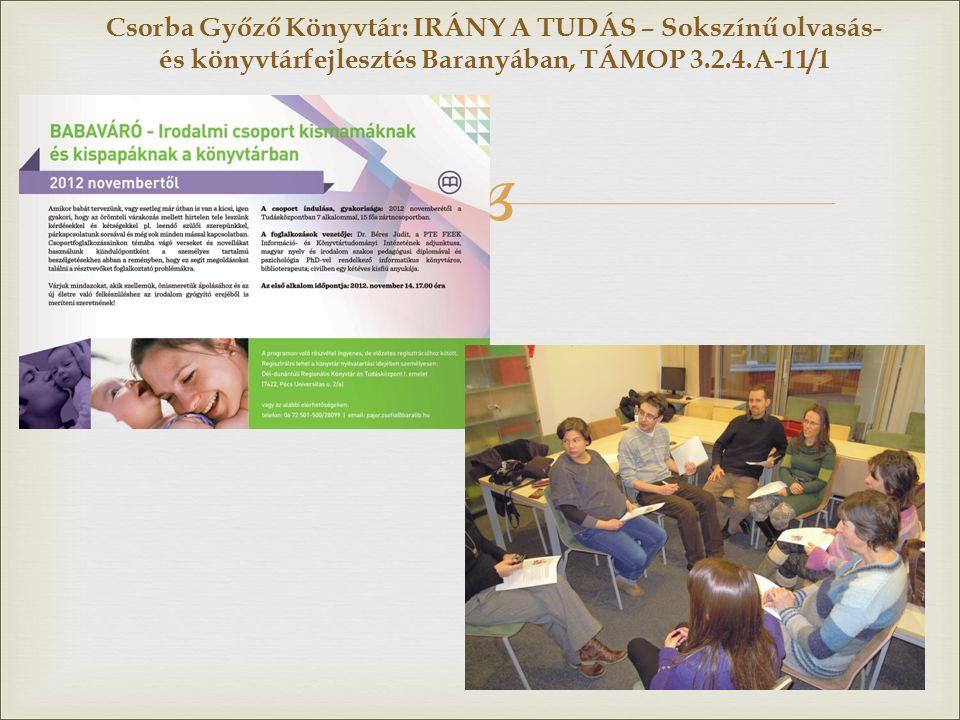  Csorba Győző Könyvtár: IRÁNY A TUDÁS – Sokszínű olvasás- és könyvtárfejlesztés Baranyában, TÁMOP 3.2.4.A-11/1