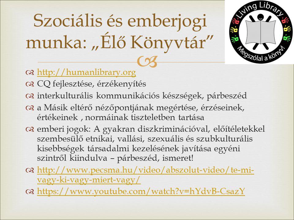   http://humanlibrary.org http://humanlibrary.org  CQ fejlesztése, érzékenyítés  interkulturális kommunikációs készségek, párbeszéd  a Másik eltérő nézőpontjának megértése, érzéseinek, értékeinek, normáinak tiszteletben tartása  emberi jogok: A gyakran diszkriminációval, előítéletekkel szembesülő etnikai, vallási, szexuális és szubkulturális kisebbségek társadalmi kezelésének javítása egyéni szintről kiindulva – párbeszéd, ismeret.