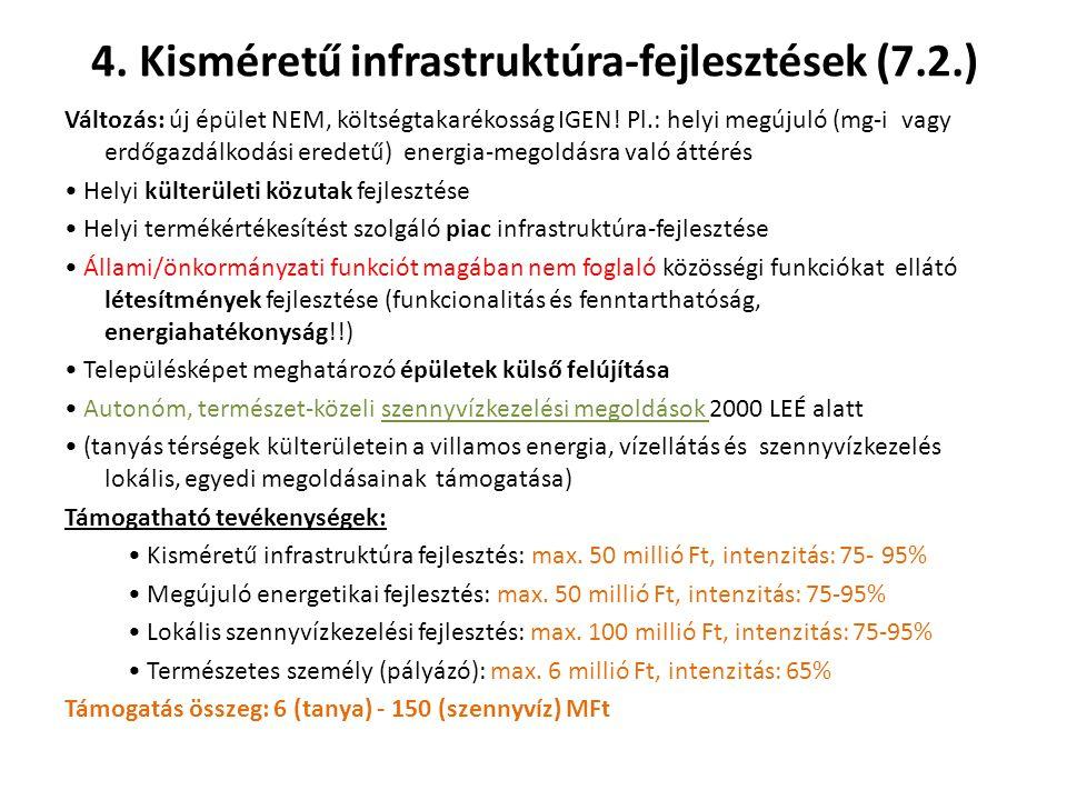 4.Kisméretű infrastruktúra-fejlesztések (7.2.) Változás: új épület NEM, költségtakarékosság IGEN.