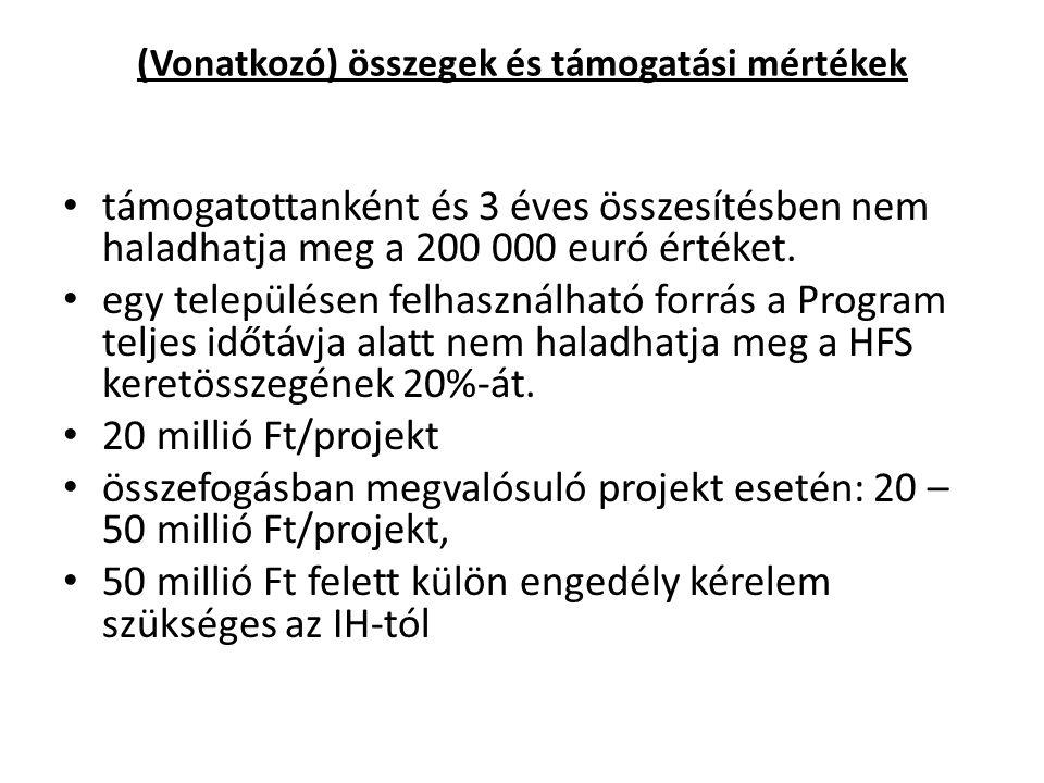 (Vonatkozó) összegek és támogatási mértékek támogatottanként és 3 éves összesítésben nem haladhatja meg a 200 000 euró értéket.