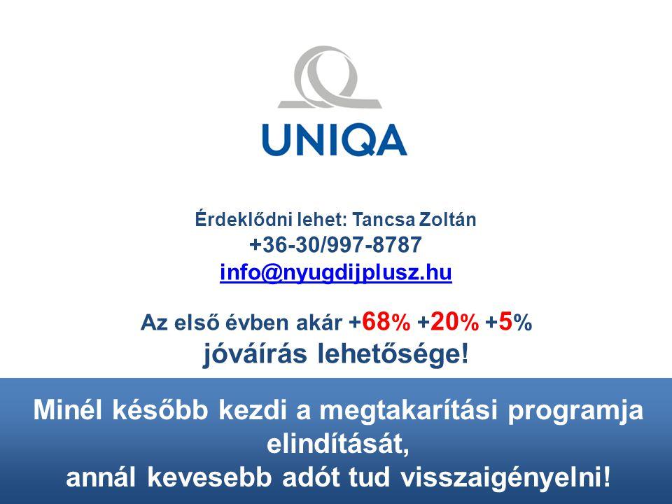 Érdeklődni lehet: Tancsa Zoltán +36-30/997-8787 info@nyugdijplusz.hu Az első évben akár + 68 % + 20 % + 5 % jóváírás lehetősége.