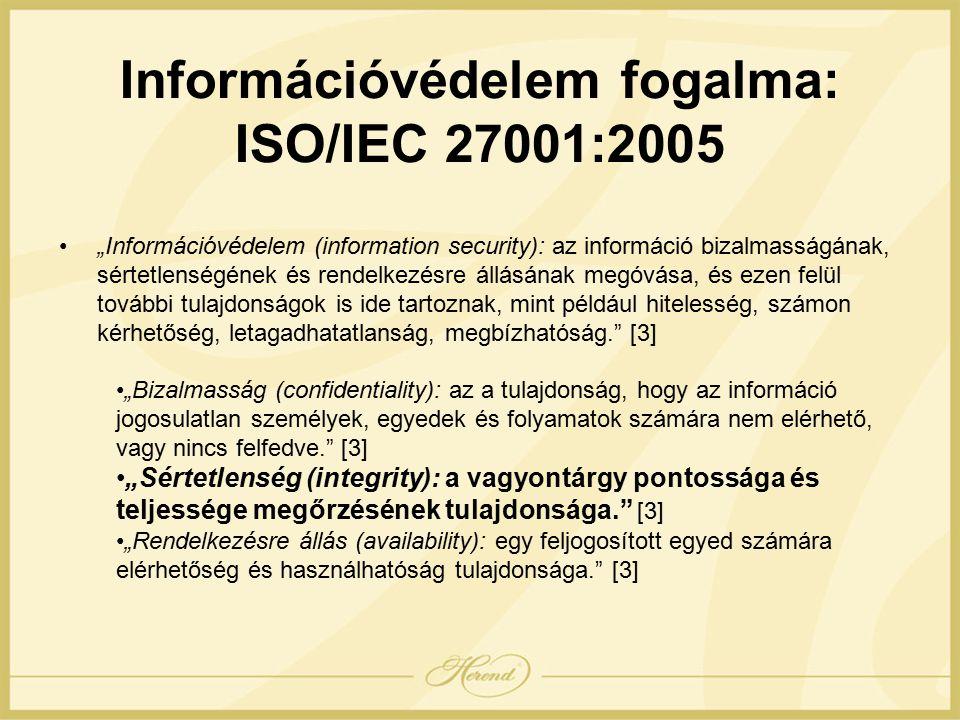 """""""Információvédelem (information security): az információ bizalmasságának, sértetlenségének és rendelkezésre állásának megóvása, és ezen felül további tulajdonságok is ide tartoznak, mint például hitelesség, számon kérhetőség, letagadhatatlanság, megbízhatóság. [3] """"Bizalmasság (confidentiality): az a tulajdonság, hogy az információ jogosulatlan személyek, egyedek és folyamatok számára nem elérhető, vagy nincs felfedve. [3] """"Sértetlenség (integrity): a vagyontárgy pontossága és teljessége megőrzésének tulajdonsága. [3] """"Rendelkezésre állás (availability): egy feljogosított egyed számára elérhetőség és használhatóság tulajdonsága. [3] Információvédelem fogalma: ISO/IEC 27001:2005"""