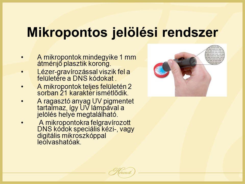 Mikropontos jelölési rendszer A mikropontok mindegyike 1 mm átmérıjő plasztik korong.