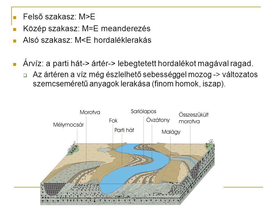Felső szakasz: M>E Közép szakasz: M=E meanderezés Alsó szakasz: M<E hordaléklerakás Árvíz: a parti hát-> ártér-> lebegtetett hordalékot magával ragad.