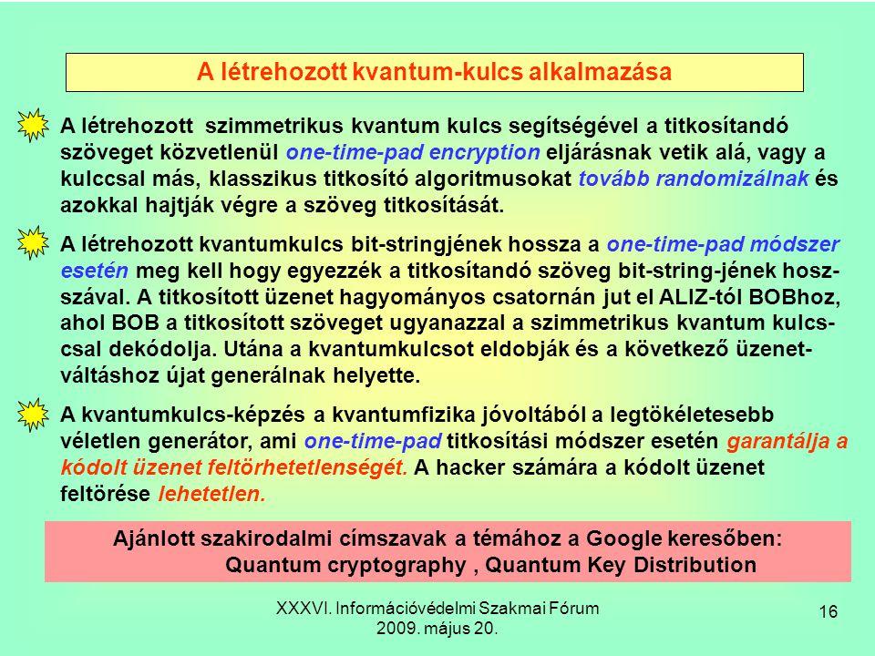 XXXVI. Információvédelmi Szakmai Fórum 2009. május 20.