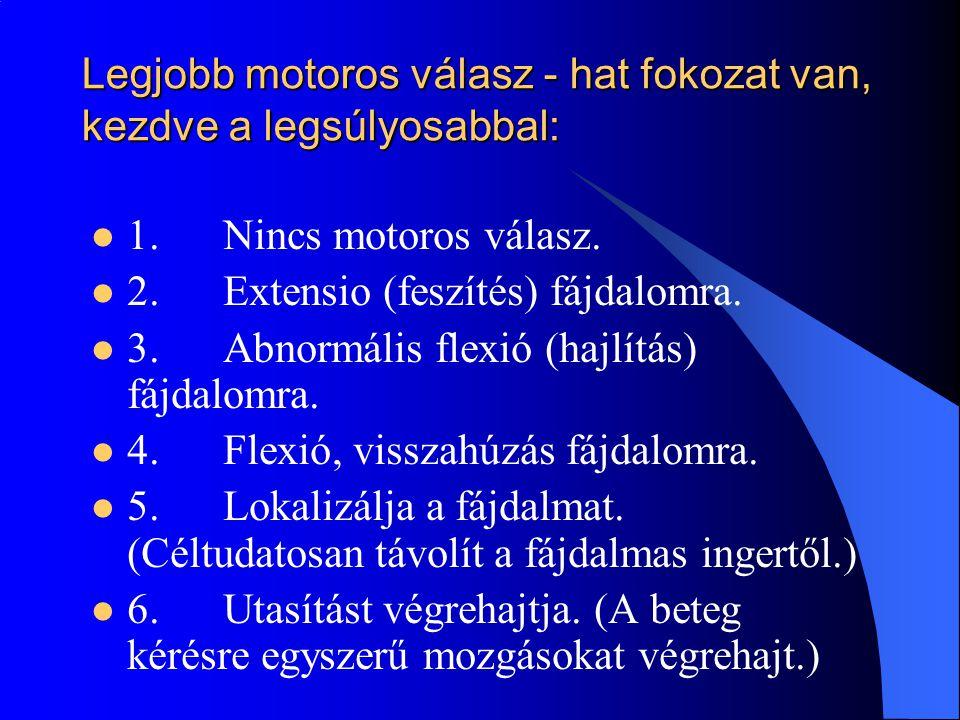 Legjobb motoros válasz - hat fokozat van, kezdve a legsúlyosabbal: 1. Nincs motoros válasz. 2. Extensio (feszítés) fájdalomra. 3. Abnormális flexió (h