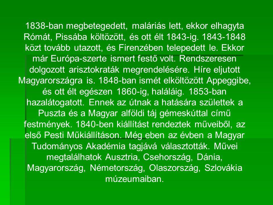 1838-ban megbetegedett, maláriás lett, ekkor elhagyta Rómát, Pissába költözött, és ott élt 1843-ig.