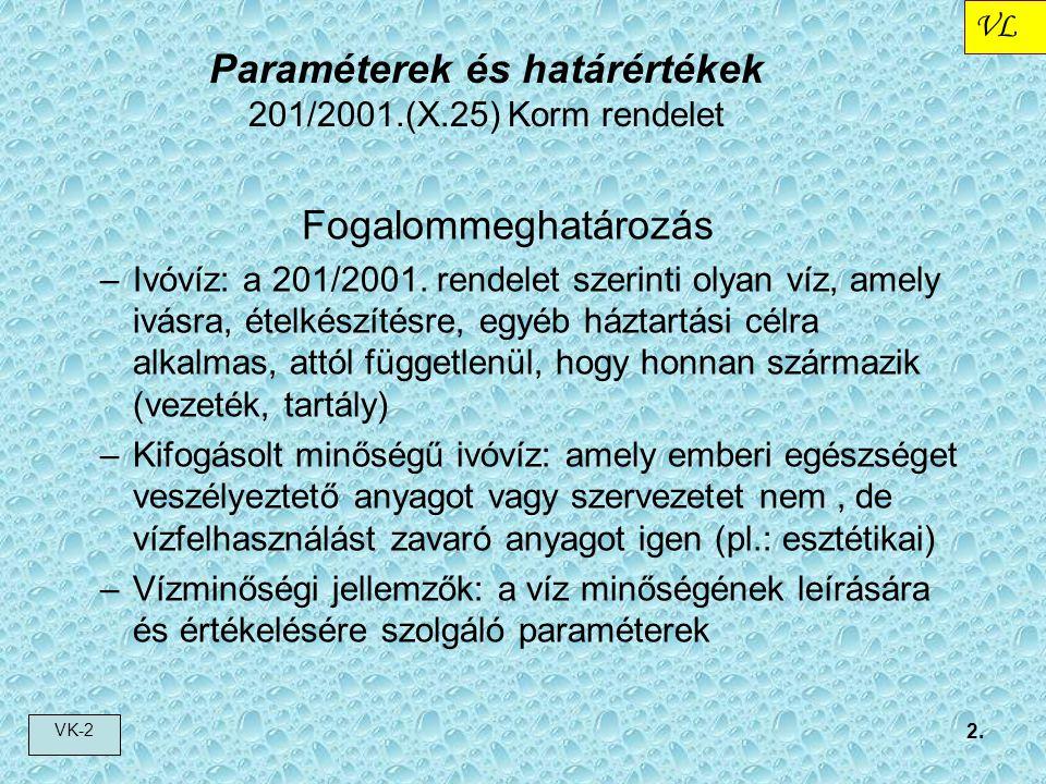 VL VK-2 2. Fogalommeghatározás –Ivóvíz: a 201/2001. rendelet szerinti olyan víz, amely ivásra, ételkészítésre, egyéb háztartási célra alkalmas, attól
