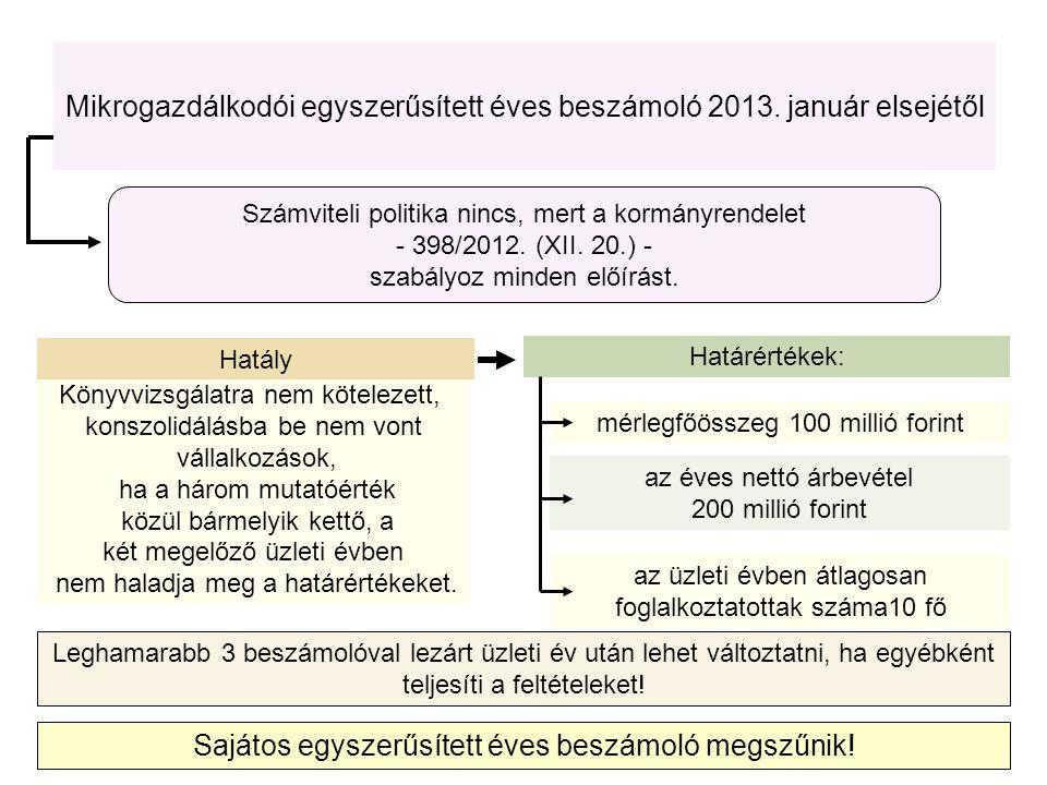 Mikrogazdálkodói egyszerűsített éves beszámoló 2013. január elsejétől Sajátos egyszerűsített éves beszámoló megszűnik! Könyvvizsgálatra nem kötelezett
