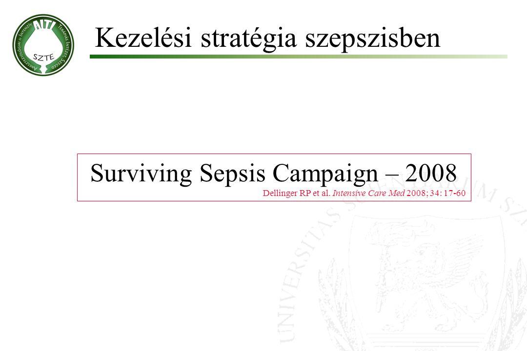 Surviving Sepsis Campaign – 2008 Dellinger RP et al. Intensive Care Med 2008; 34: 17-60 Kezelési stratégia szepszisben