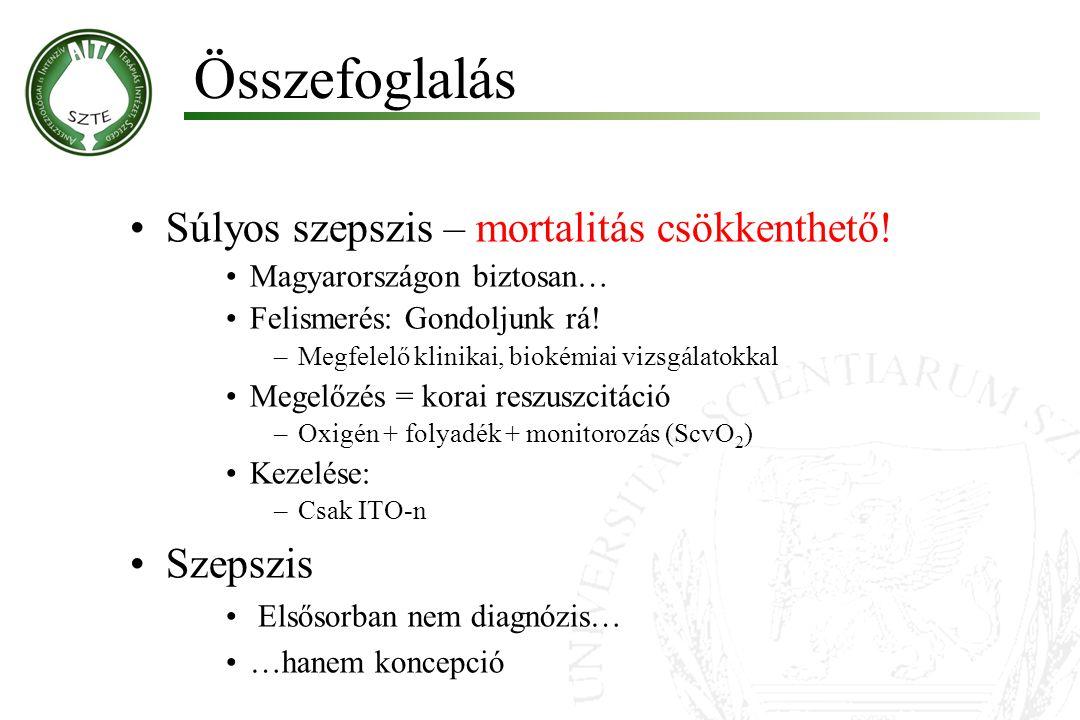 Súlyos szepszis – mortalitás csökkenthető! Magyarországon biztosan… Felismerés: Gondoljunk rá! –Megfelelő klinikai, biokémiai vizsgálatokkal Megelőzés