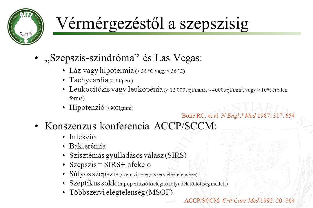 """""""Szepszis-szindróma"""" és Las Vegas: Láz vagy hipotermia (> 38 o C vagy < 36 o C) Tachycardia (>90/perc) Leukocitózis vagy leukopénia (> 12 000sejt/mm3,"""