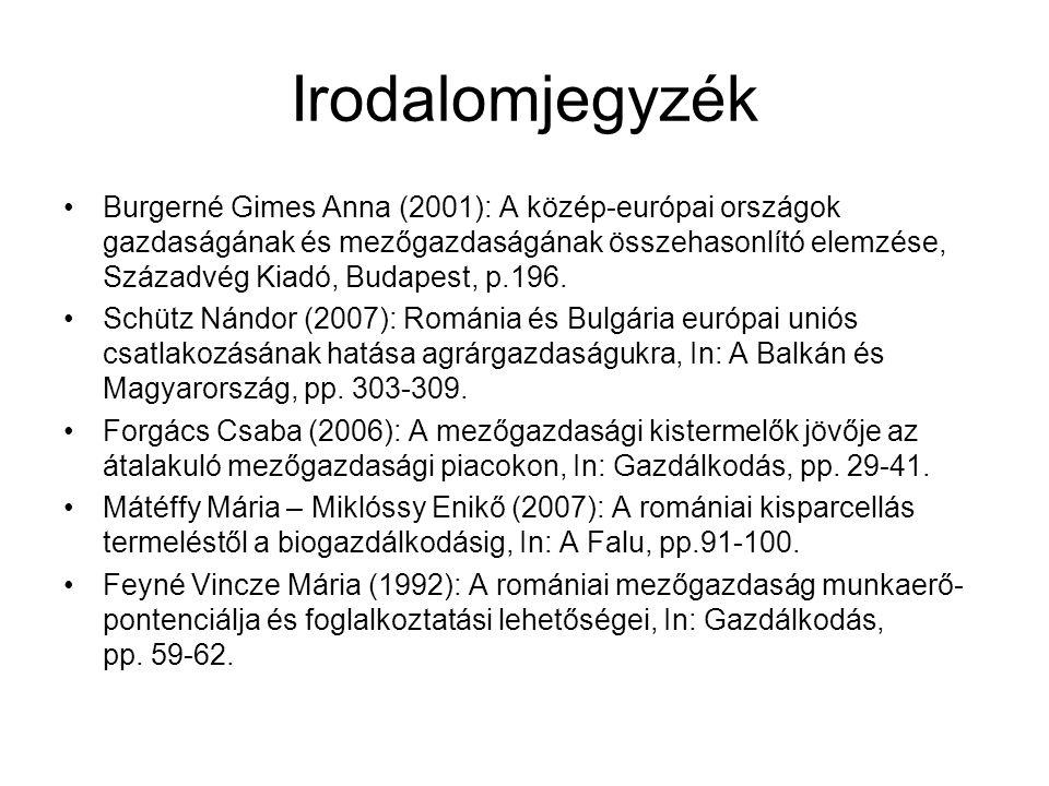 Irodalomjegyzék Burgerné Gimes Anna (2001): A közép-európai országok gazdaságának és mezőgazdaságának összehasonlító elemzése, Századvég Kiadó, Budape