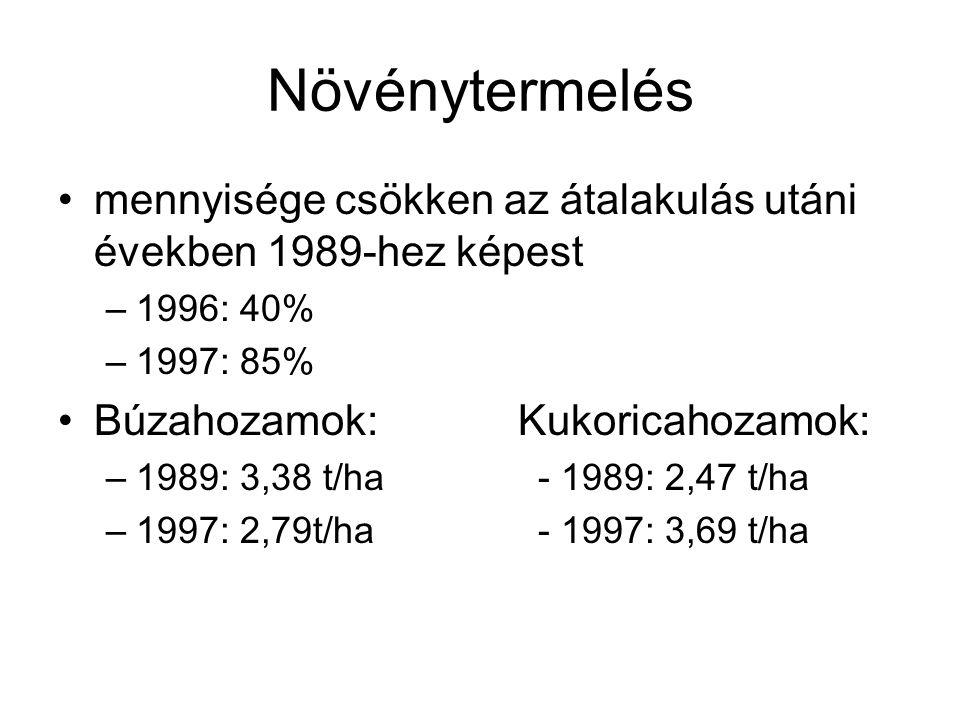 Növénytermelés mennyisége csökken az átalakulás utáni években 1989-hez képest –1996: 40% –1997: 85% Búzahozamok: Kukoricahozamok: –1989: 3,38 t/ha- 19